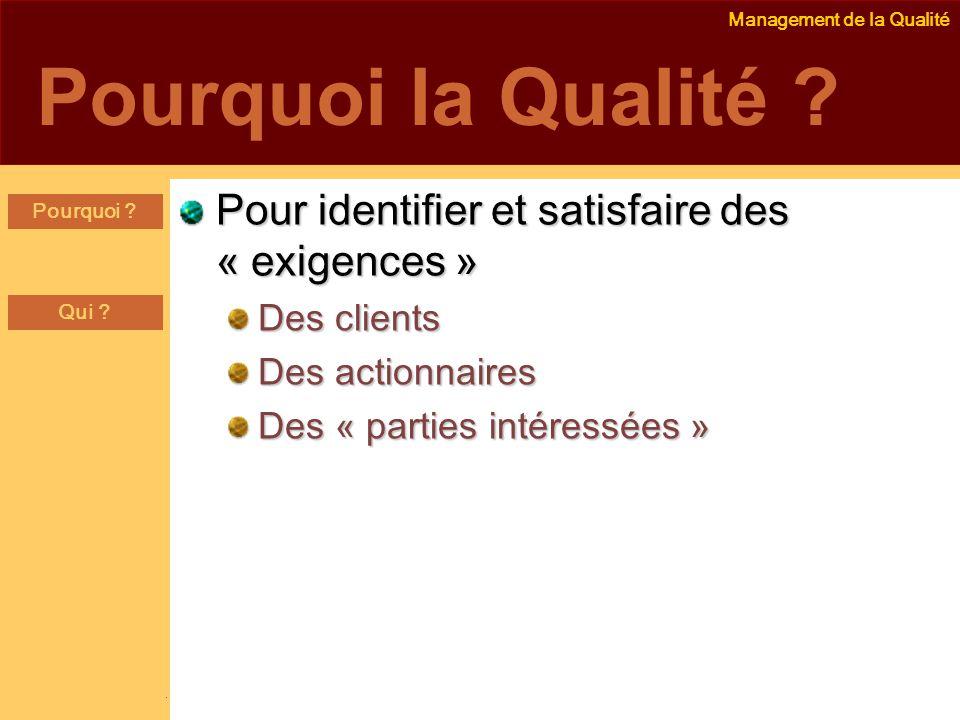 Pourquoi la Qualité Pour identifier et satisfaire des « exigences »
