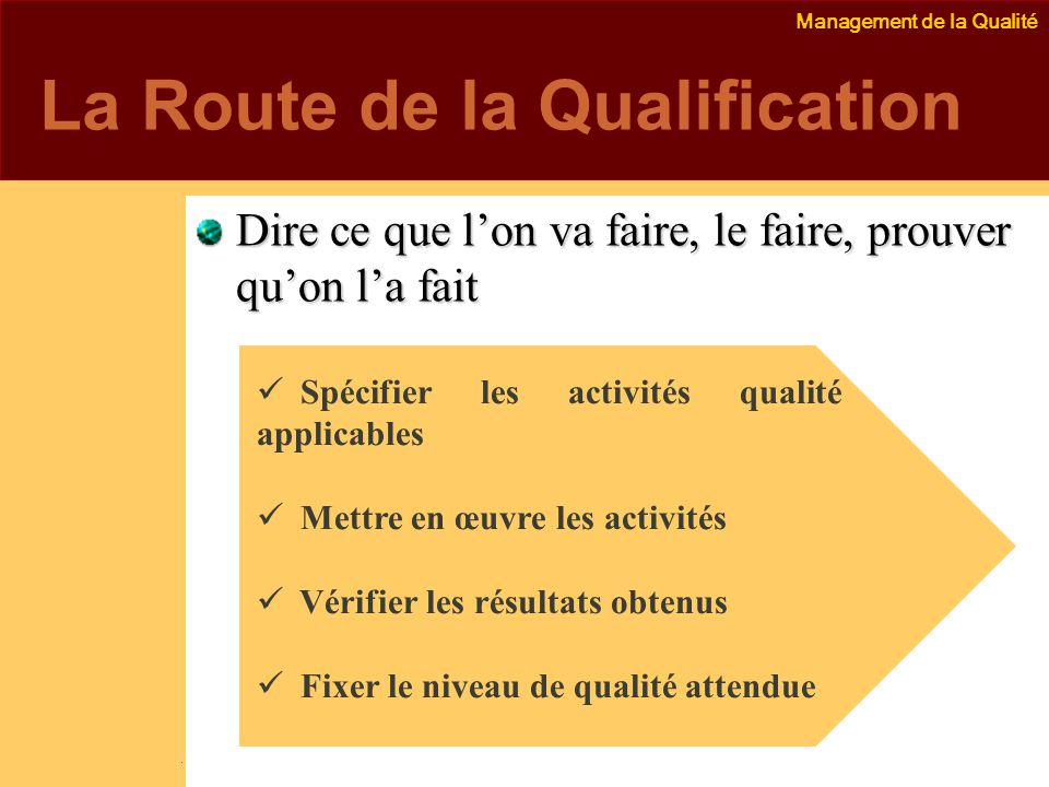 La Route de la Qualification