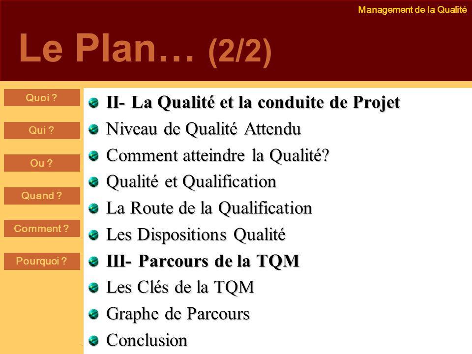 Le Plan… (2/2) II- La Qualité et la conduite de Projet