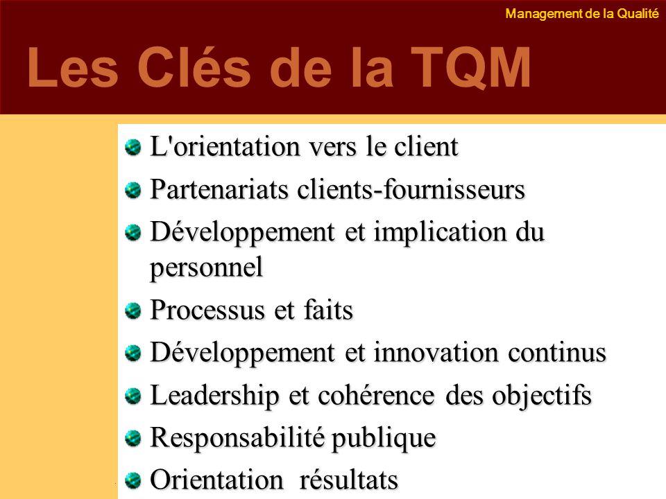 Les Clés de la TQM L orientation vers le client