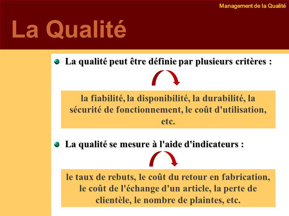 La Qualité La qualité peut être définie par plusieurs critères :