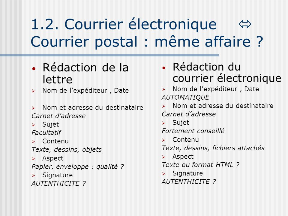 1.2. Courrier électronique  Courrier postal : même affaire