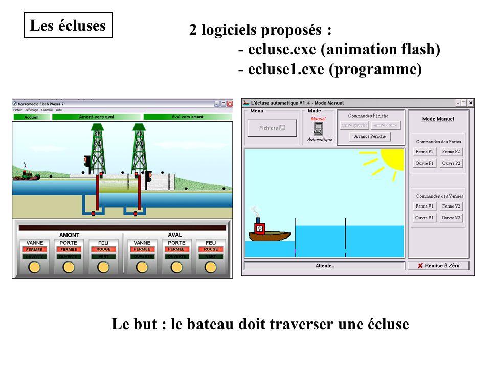 Les écluses 2 logiciels proposés : - ecluse.exe (animation flash) - ecluse1.exe (programme) Le but : le bateau doit traverser une écluse.