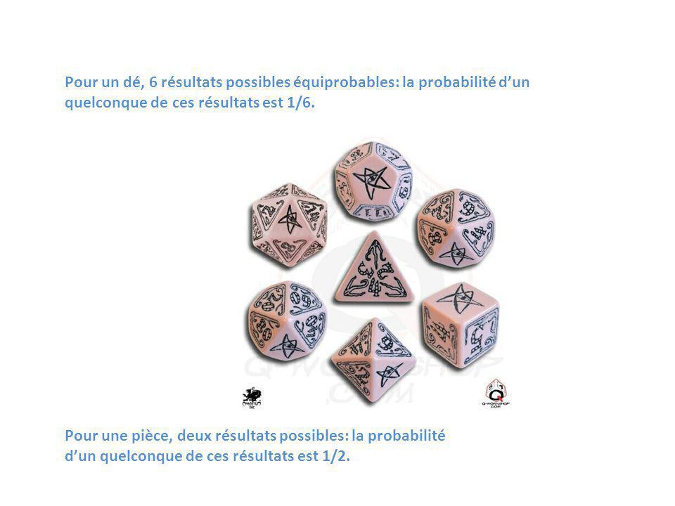Pour un dé, 6 résultats possibles équiprobables: la probabilité d'un quelconque de ces résultats est 1/6.