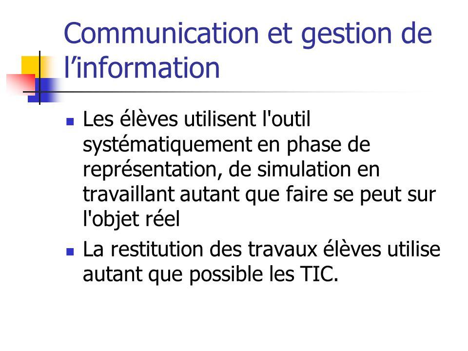 Communication et gestion de l'information