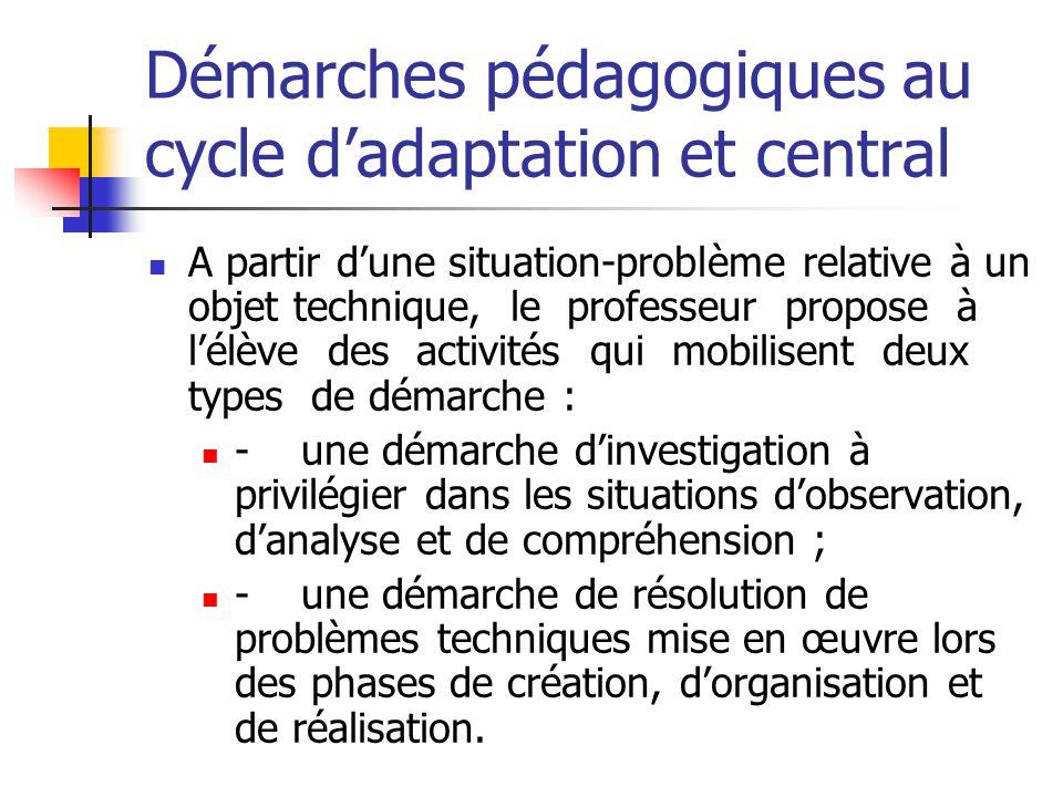 Démarches pédagogiques au cycle d'adaptation et central