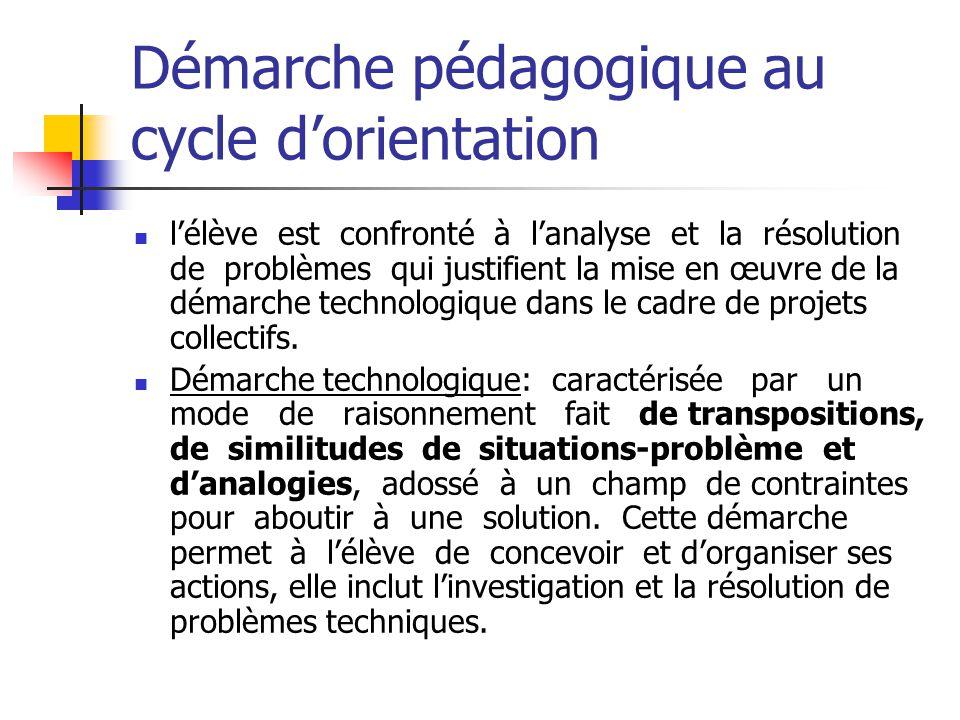 Démarche pédagogique au cycle d'orientation