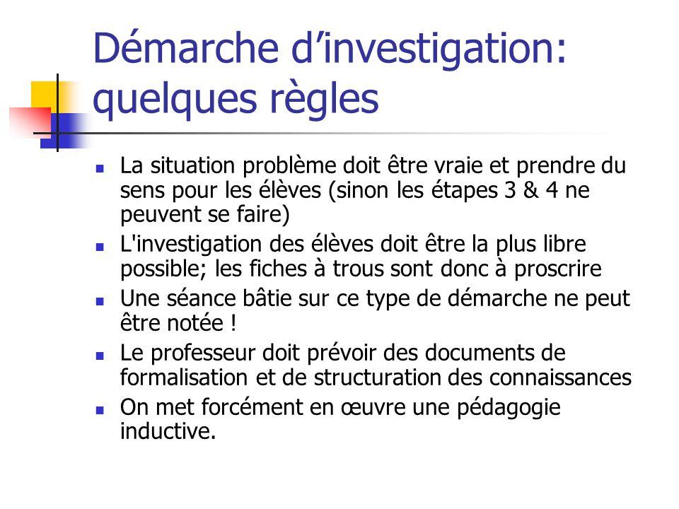 Démarche d'investigation: quelques règles