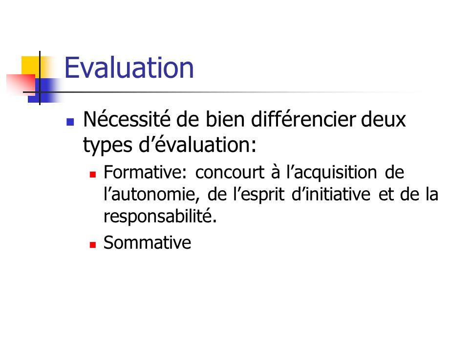 Evaluation Nécessité de bien différencier deux types d'évaluation: