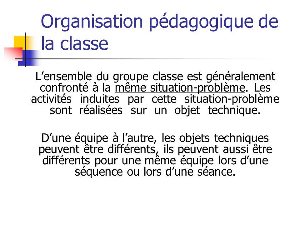 Organisation pédagogique de la classe