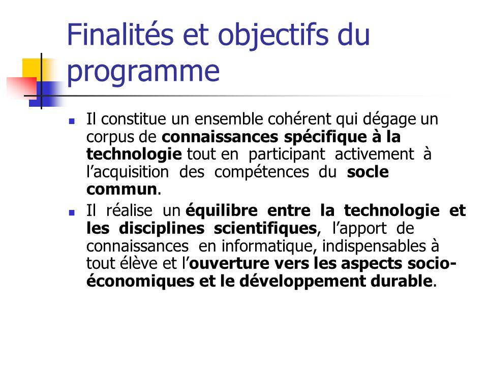 Finalités et objectifs du programme