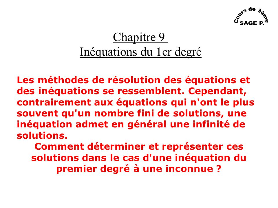 Inéquations du 1er degré