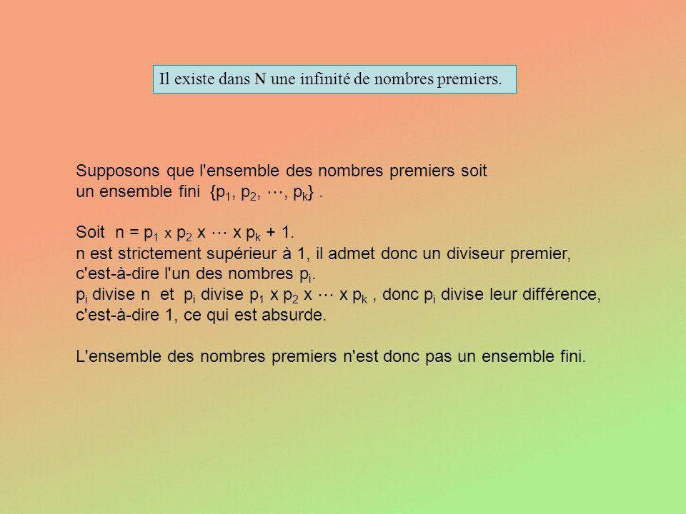 Il existe dans  une infinité de nombres premiers.