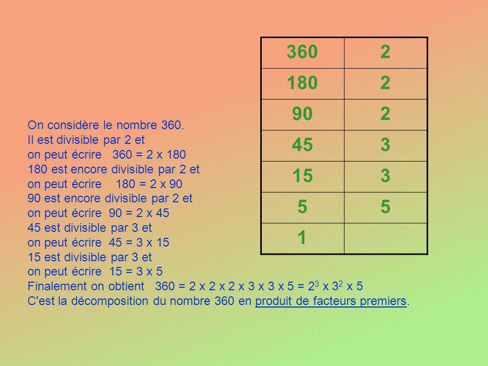 360 2. 180. 90. 45. 3. 15. 5. 1. On considère le nombre 360. Il est divisible par 2 et. on peut écrire 360 = 2 x 180.