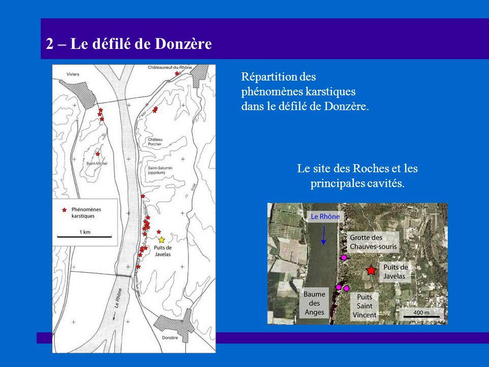 Le site des Roches et les principales cavités.
