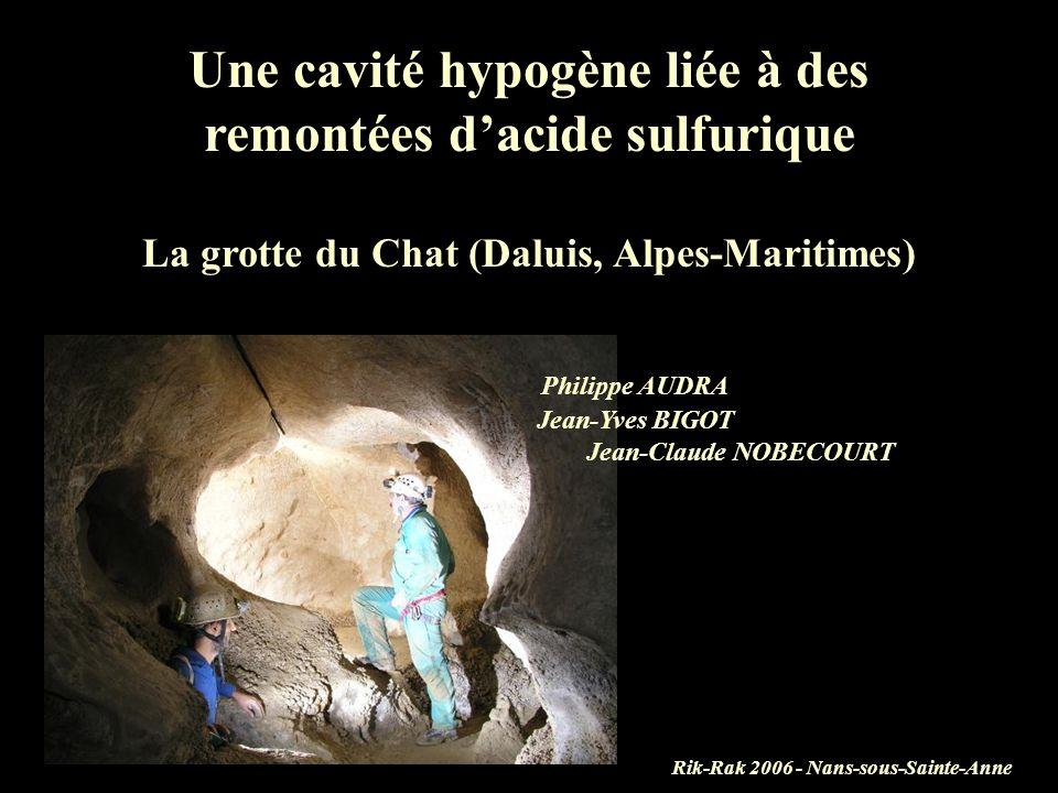Une cavité hypogène liée à des remontées d'acide sulfurique La grotte du Chat (Daluis, Alpes-Maritimes) Philippe AUDRA Jean-Yves BIGOT Jean-Claude NOBECOURT