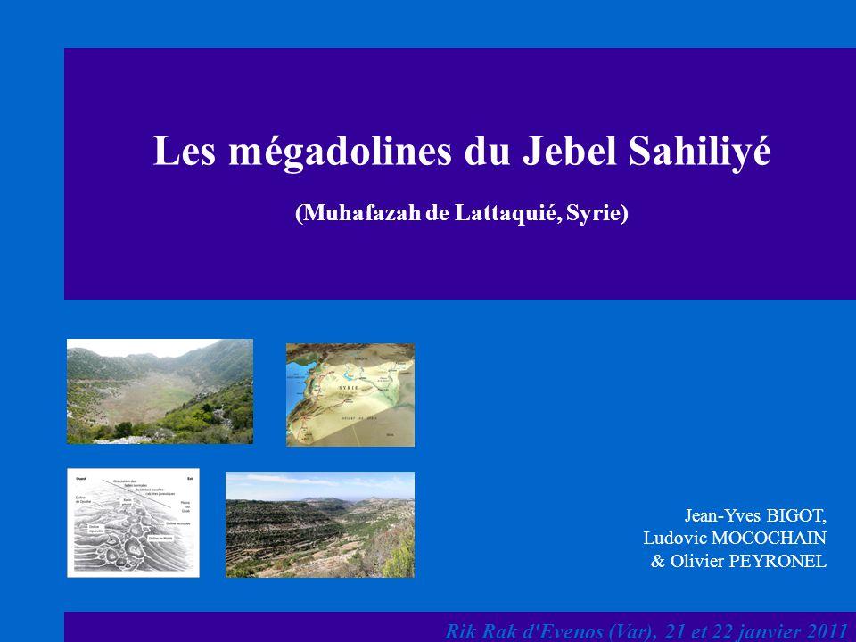 Les mégadolines du Jebel Sahiliyé (Muhafazah de Lattaquié, Syrie)
