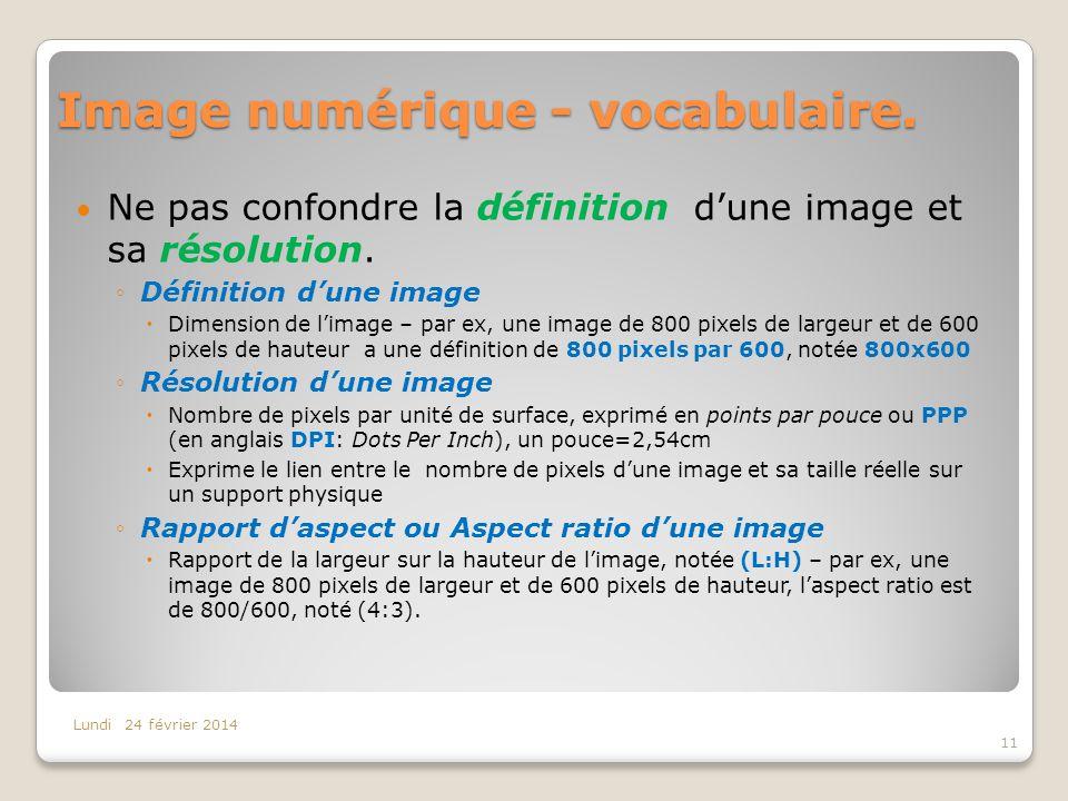 Image numérique - vocabulaire.