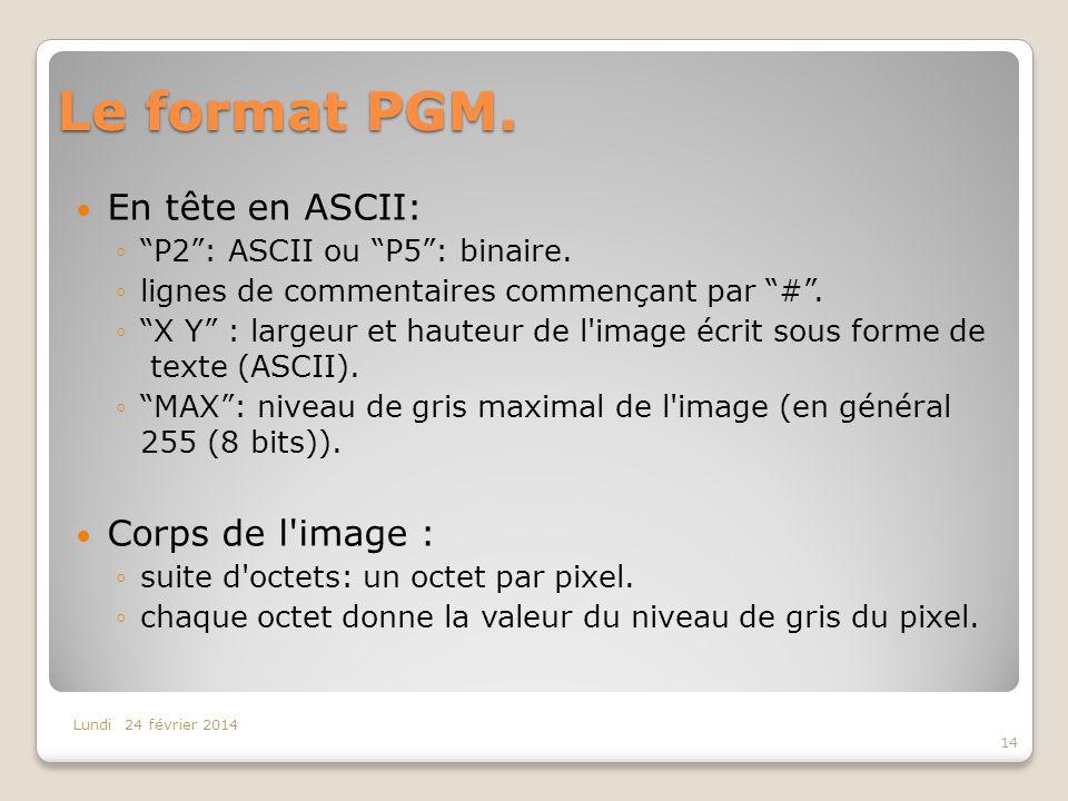 Le format PGM. En tête en ASCII: Corps de l image :