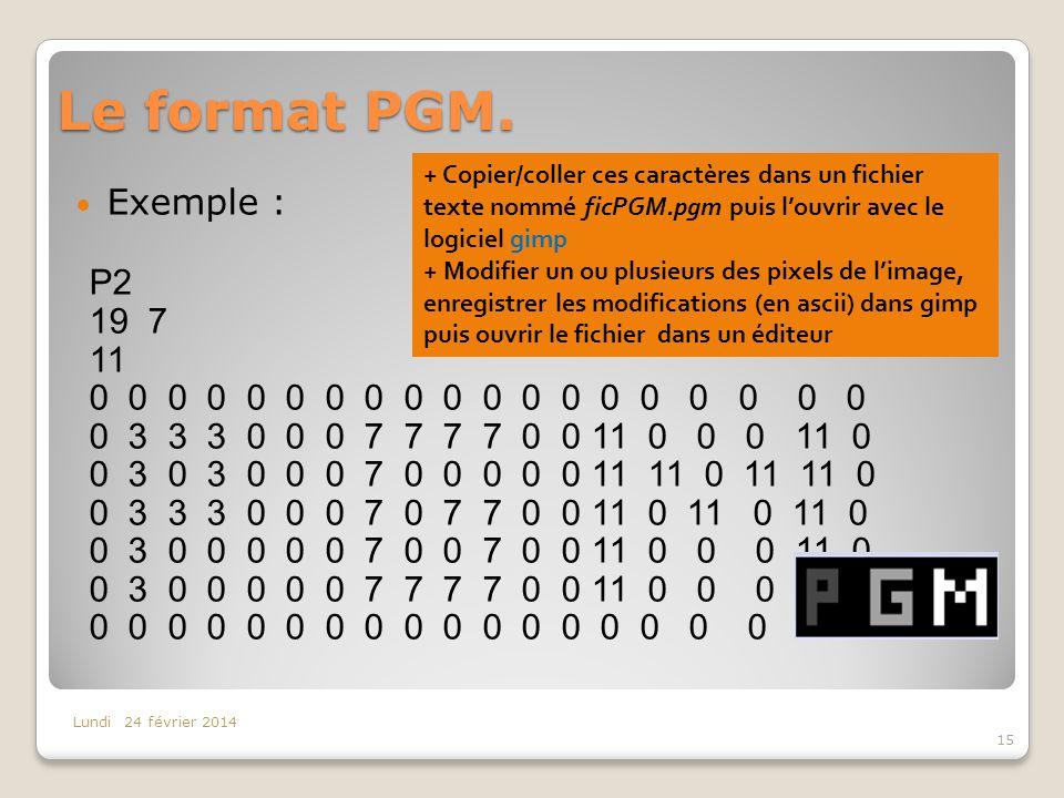 Le format PGM. Exemple : P2 19 7 11