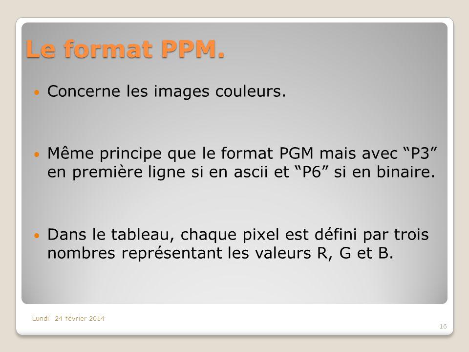 Le format PPM. Concerne les images couleurs.