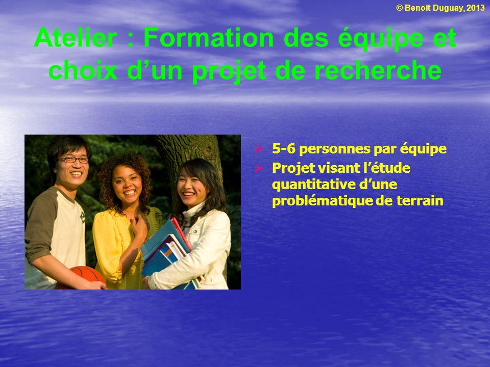 Atelier : Formation des équipe et choix d'un projet de recherche