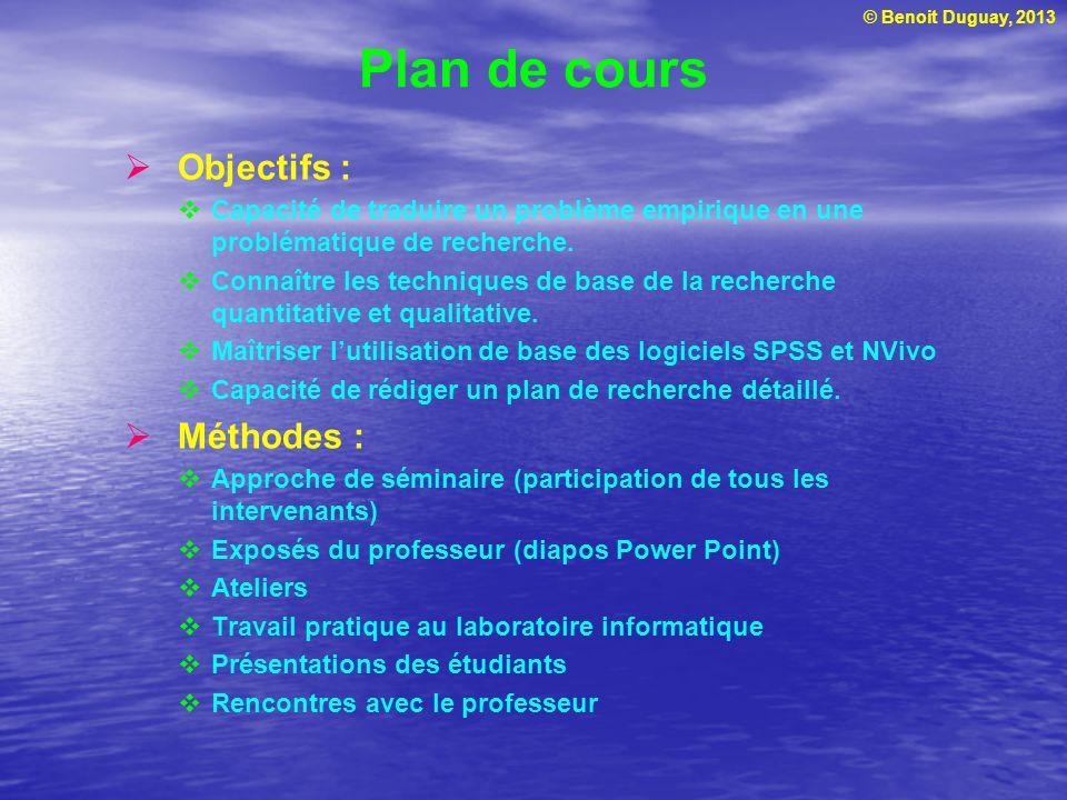 Plan de cours Objectifs : Méthodes :