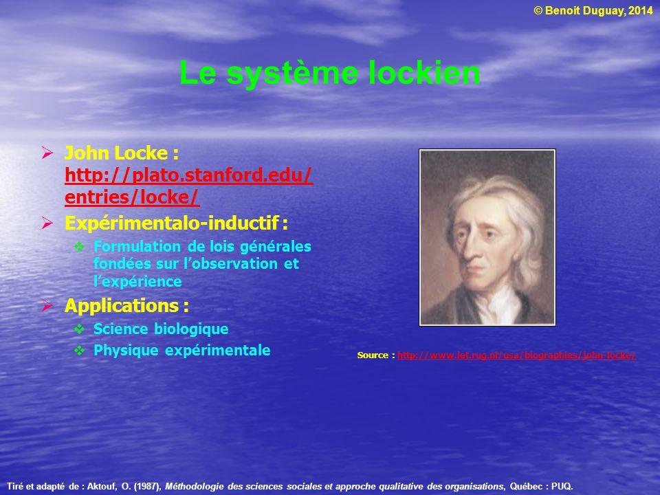 Le système lockien John Locke : http://plato.stanford.edu/entries/locke/ Expérimentalo-inductif :