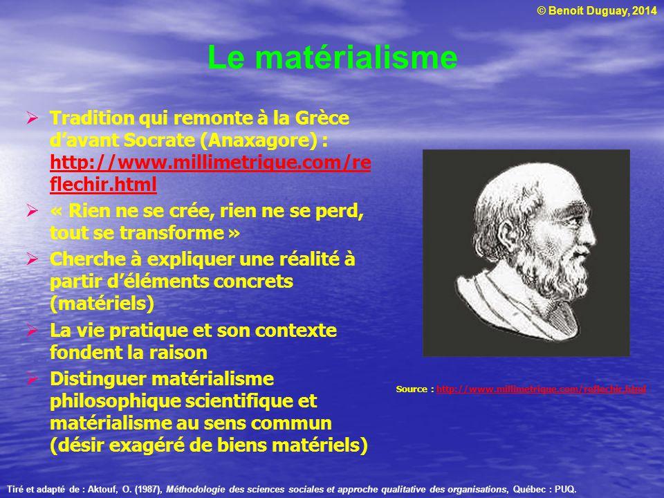 Le matérialisme Tradition qui remonte à la Grèce d'avant Socrate (Anaxagore) : http://www.millimetrique.com/reflechir.html.