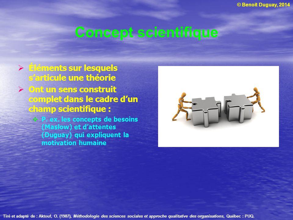 Concept scientifique Éléments sur lesquels s'articule une théorie