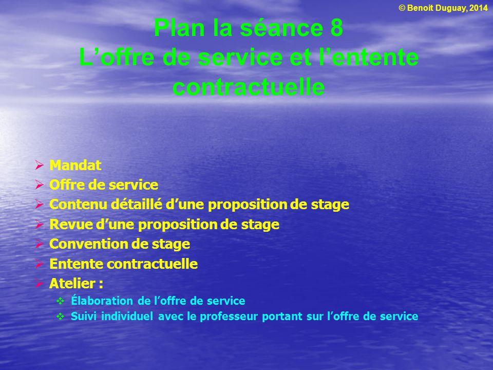 Plan la séance 8 L'offre de service et l'entente contractuelle