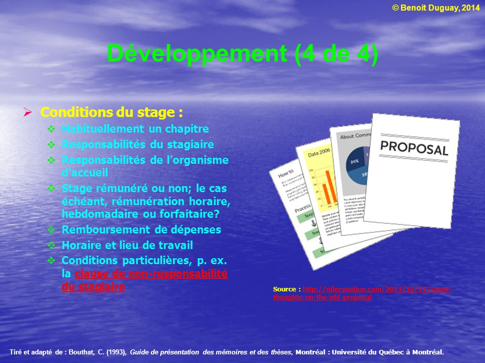 Développement (4 de 4) Conditions du stage :