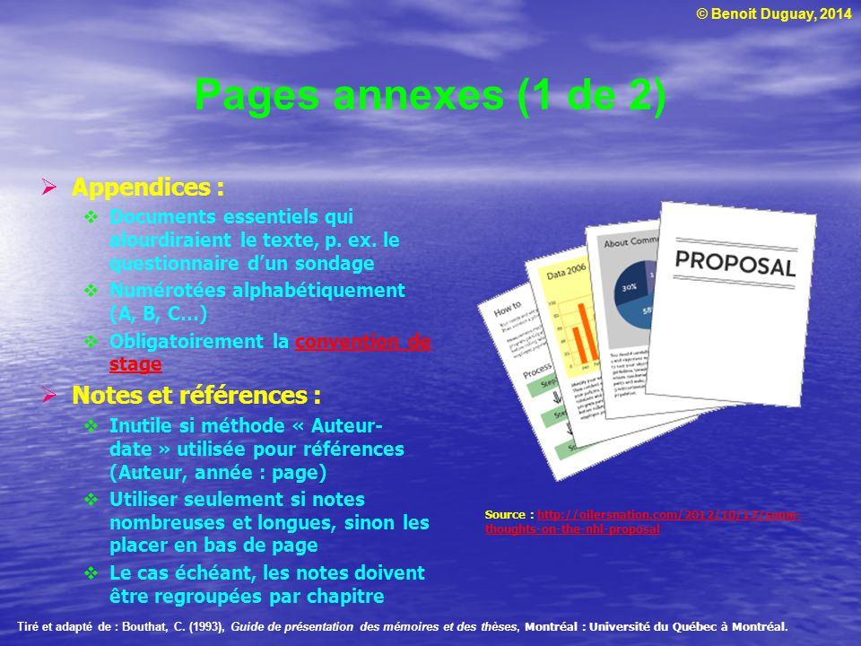 Pages annexes (1 de 2) Appendices : Notes et références :