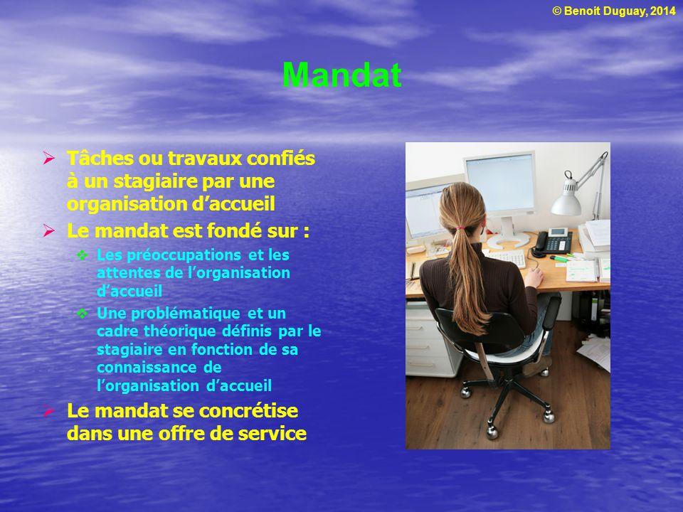 Mandat Tâches ou travaux confiés à un stagiaire par une organisation d'accueil. Le mandat est fondé sur :