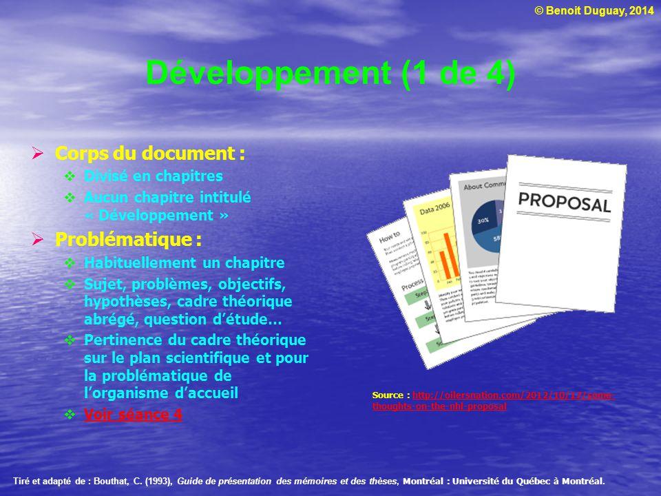 Développement (1 de 4) Corps du document : Problématique :
