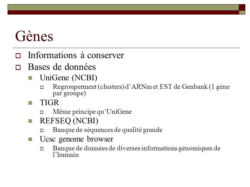 Gènes Informations à conserver Bases de données UniGene (NCBI) TIGR