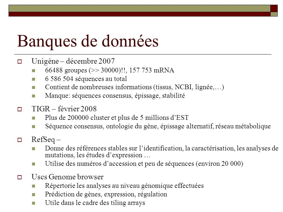 Banques de données Unigène – décembre 2007 TIGR – février 2008