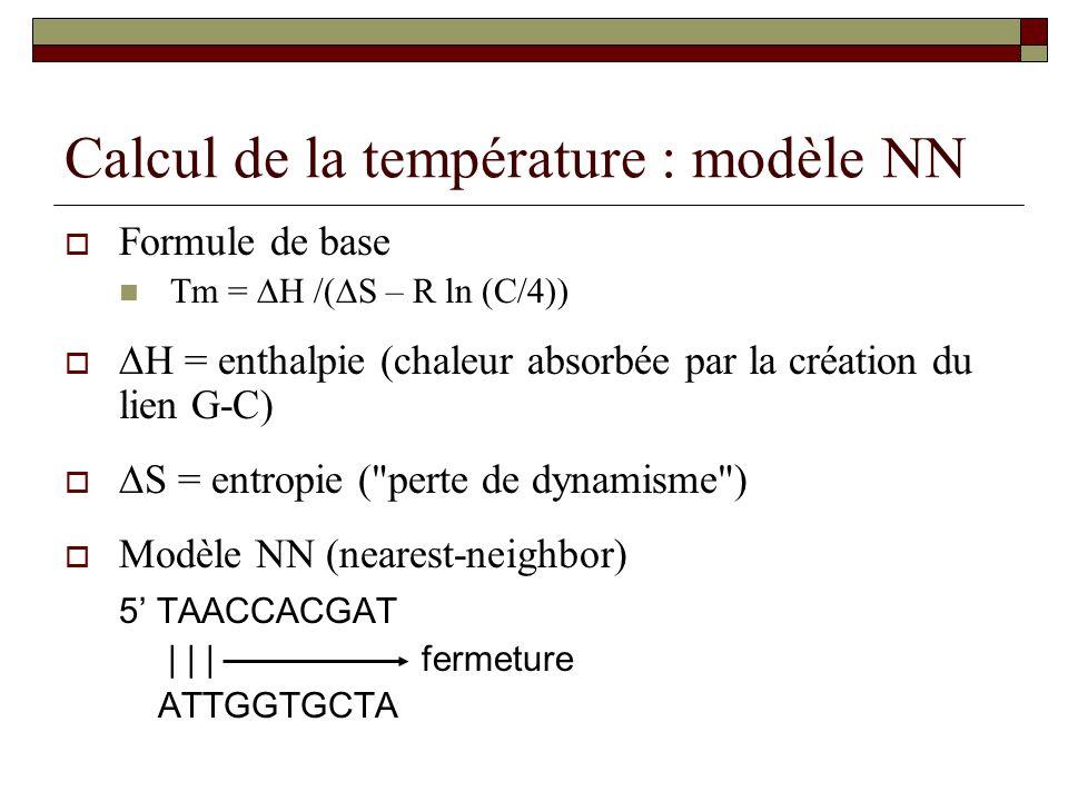 Calcul de la température : modèle NN
