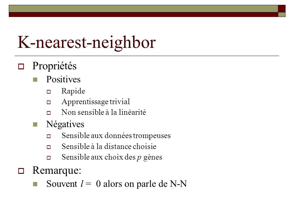 K-nearest-neighbor Propriétés Remarque: Positives Négatives