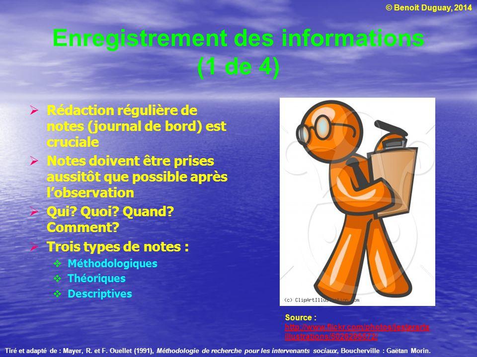 Enregistrement des informations (1 de 4)