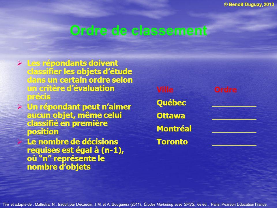 Ordre de classement Les répondants doivent classifier les objets d'étude dans un certain ordre selon un critère d'évaluation précis.