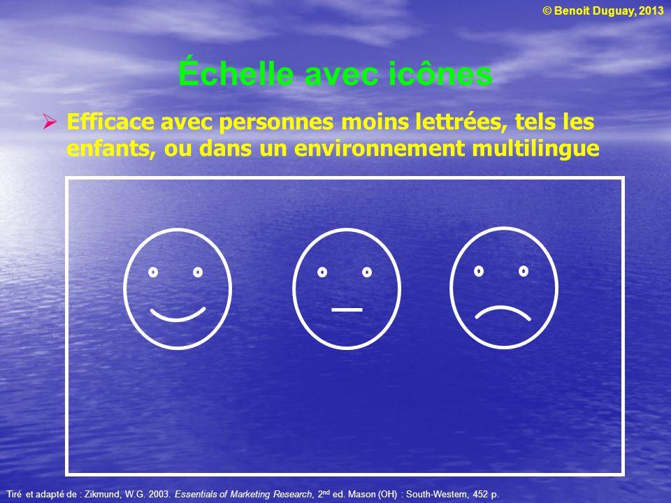 Échelle avec icônes Efficace avec personnes moins lettrées, tels les enfants, ou dans un environnement multilingue.