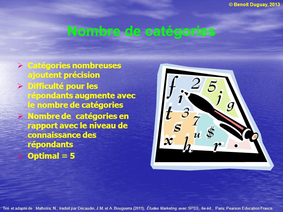 Nombre de catégories Catégories nombreuses ajoutent précision