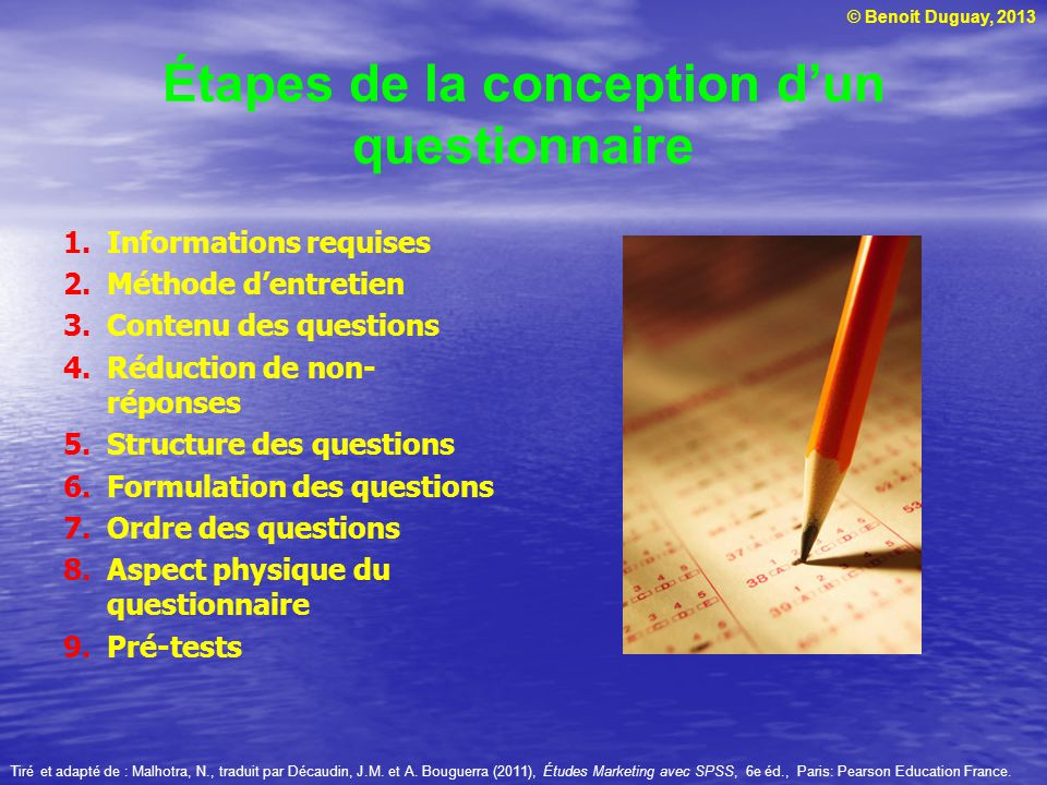 Étapes de la conception d'un questionnaire