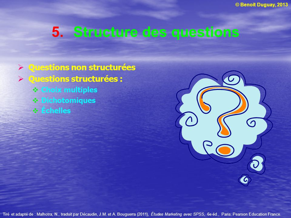 Structure des questions