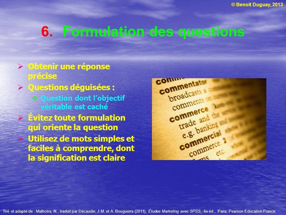 Formulation des questions
