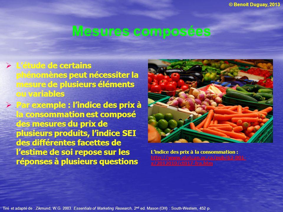 Mesures composées L'étude de certains phénomènes peut nécessiter la mesure de plusieurs éléments ou variables.