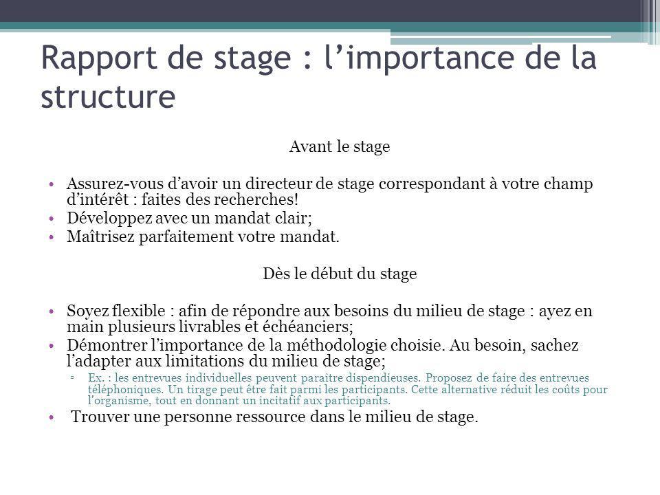 Rapport de stage : l'importance de la structure