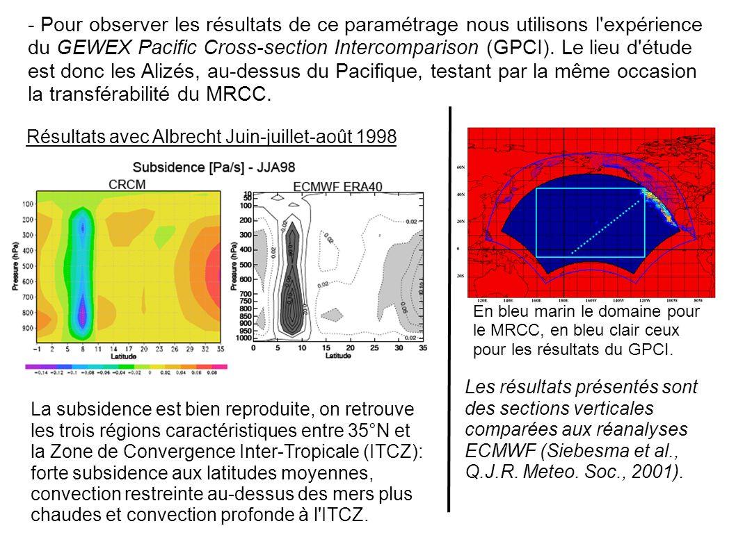 - Pour observer les résultats de ce paramétrage nous utilisons l expérience du GEWEX Pacific Cross-section Intercomparison (GPCI). Le lieu d étude est donc les Alizés, au-dessus du Pacifique, testant par la même occasion la transférabilité du MRCC.