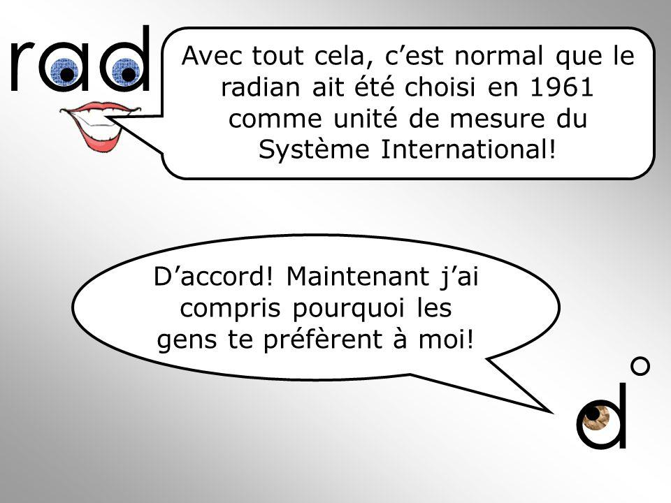 rad Avec tout cela, c'est normal que le radian ait été choisi en 1961 comme unité de mesure du Système International!